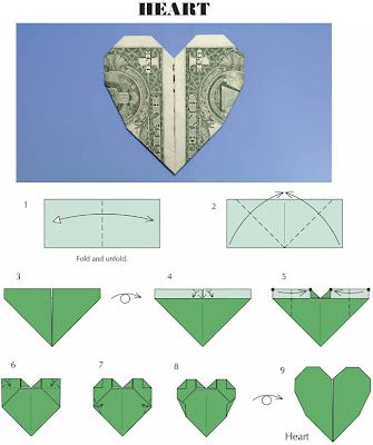 Dollar Heart Origami Instructions