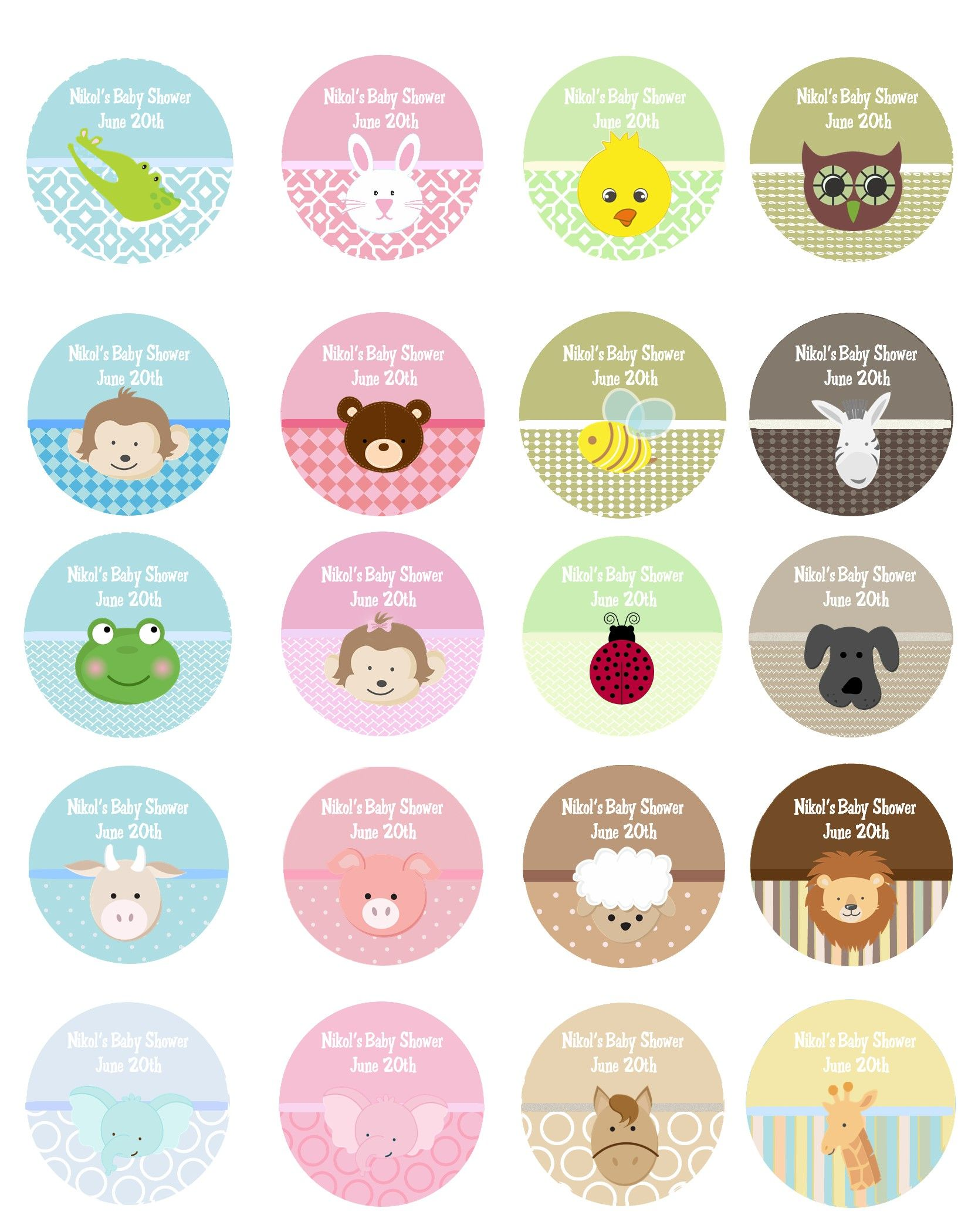 Baby animals personalized sticker labels baby animals baby shower sticker labels