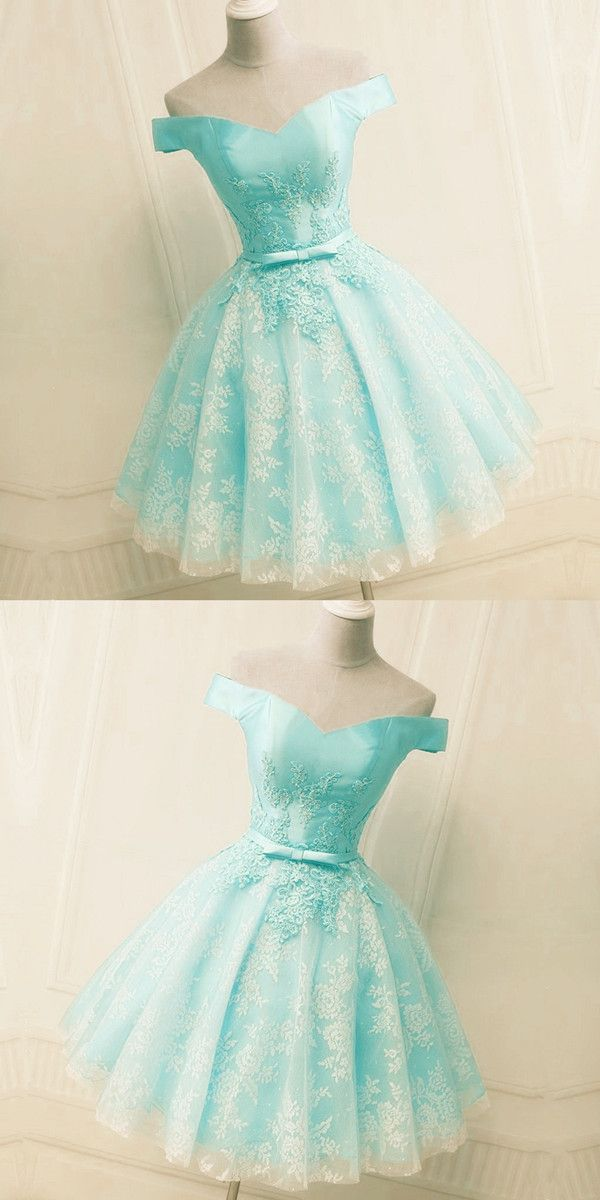 26c38099b7f2 Elegant Light Blue Lace Appliques Satin Off The Shoulder Homecoming Dress  Short
