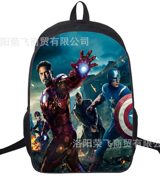 16 Inch The Avengers Captain America Iron Man School Bags Mochila 3D  Cartoon Orthopedic Children Backpack For Boys Teenagers cb065a2e10128
