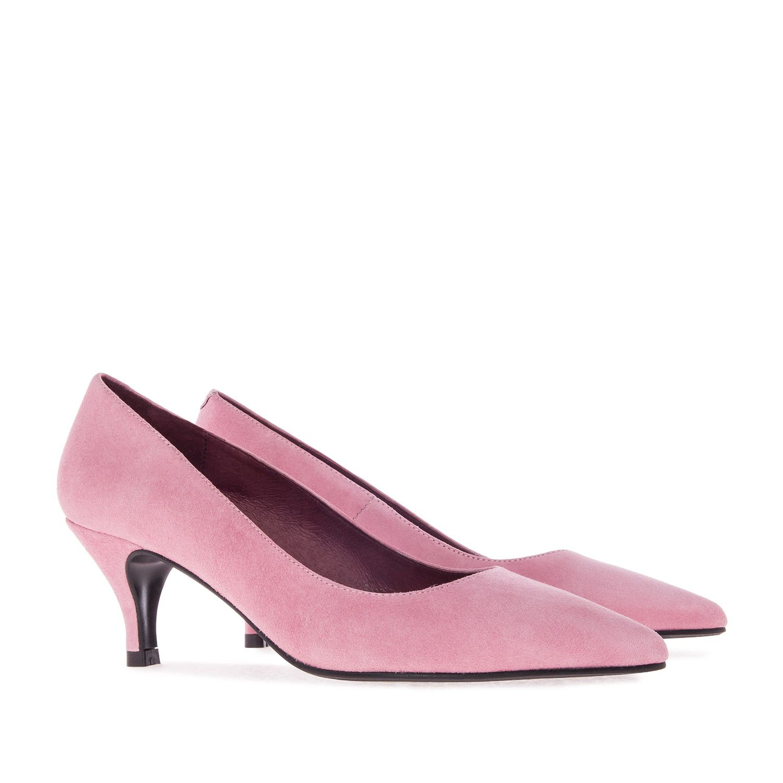 Zapatos  de salón mujer 10 ante tacón de aguja cordones elegantes rosa cordones aguja como piel 5c87ed