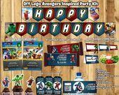 Lego Avengers Birthday Party Kit Banner herunterladen Cupcake Toppers Favor Tags einladen Fla Lego Avengers Birthday Party Kit Banner herunterladen Cupcake Toppers Favor...
