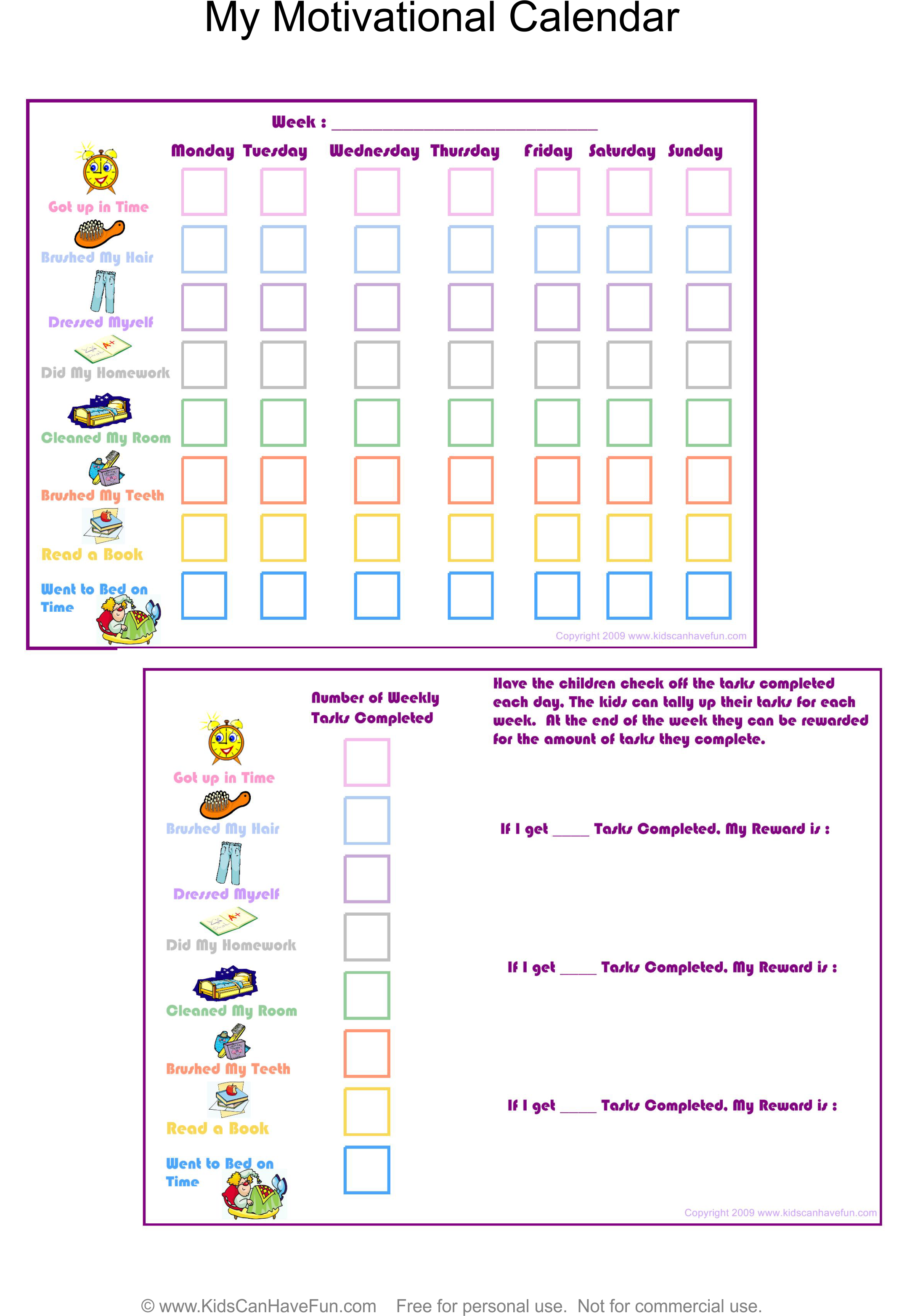 My Motivational Calendar for kids to complete their tasks http://www ...