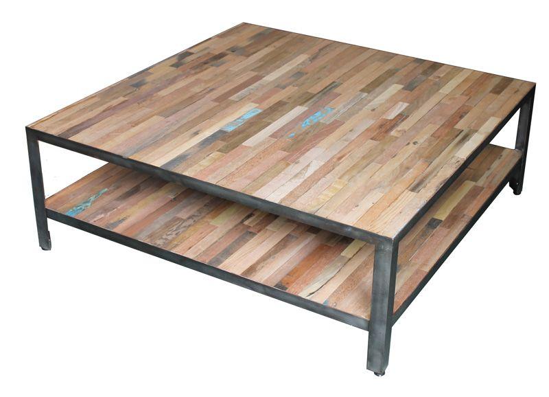 Table de salon en fer poli et vieux bois de bateau collection factory wood and steel - Table basse vieux bois ...