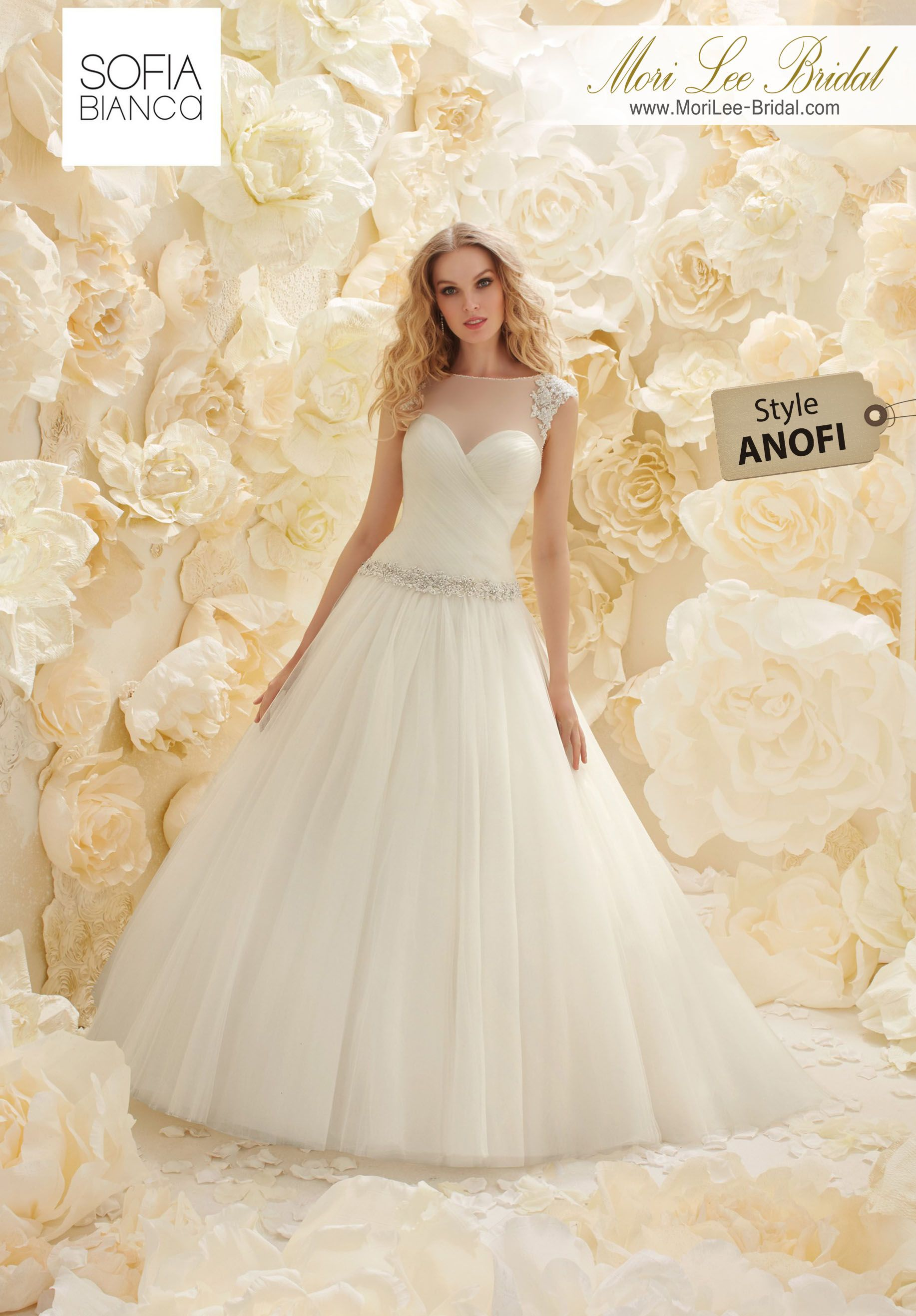 Dress style anofi a draped soft tulle ball gown and bodice with