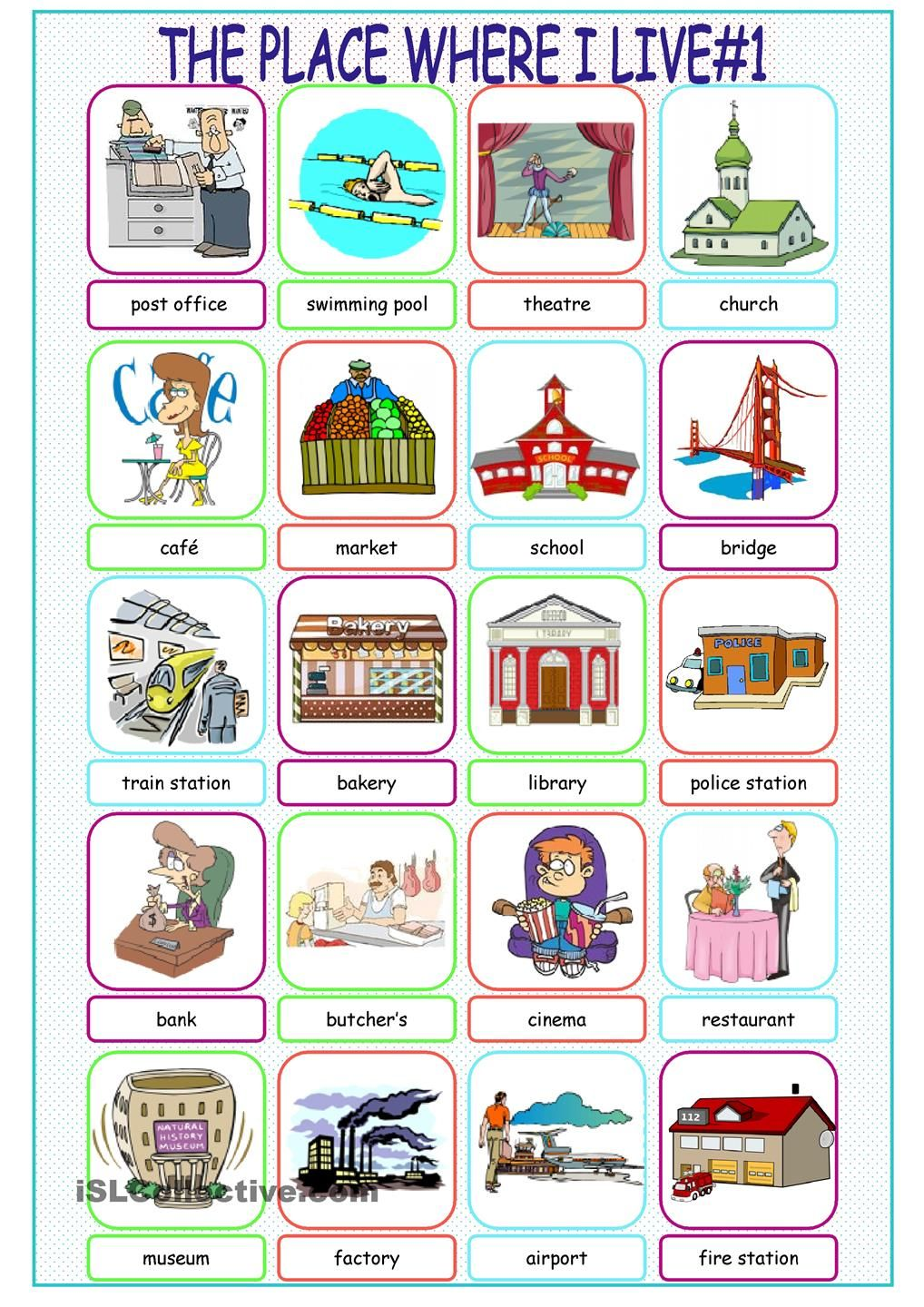 The Place Where I Live Picture Dictionary1 Tarea de ingles