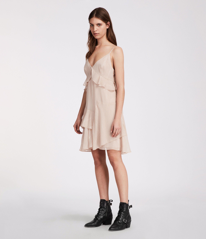 fb559485d ALLSAINTS UK  Womens Enya Stripe Dress (dusty pink)