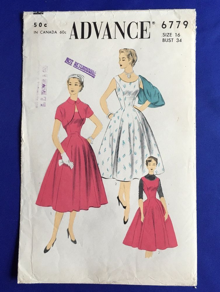 50s Advance 6779 Sewing Pattern Dress Bolero Jumper SZ 16 Misses Vintage