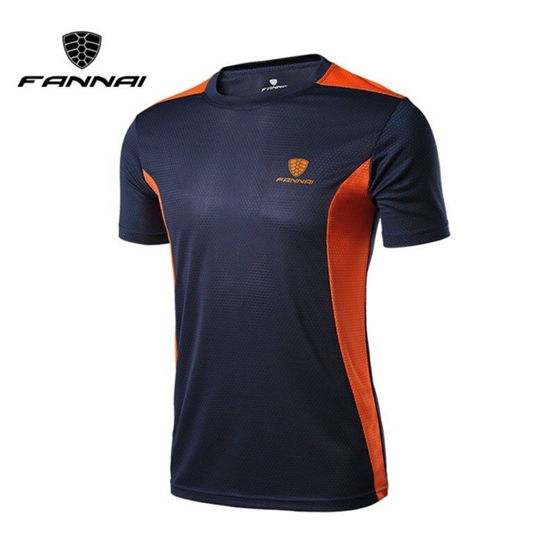 Men Sports  Short Sleeve Gym T-shirt Fitness Workout Quick Drying Tee Shirts Top
