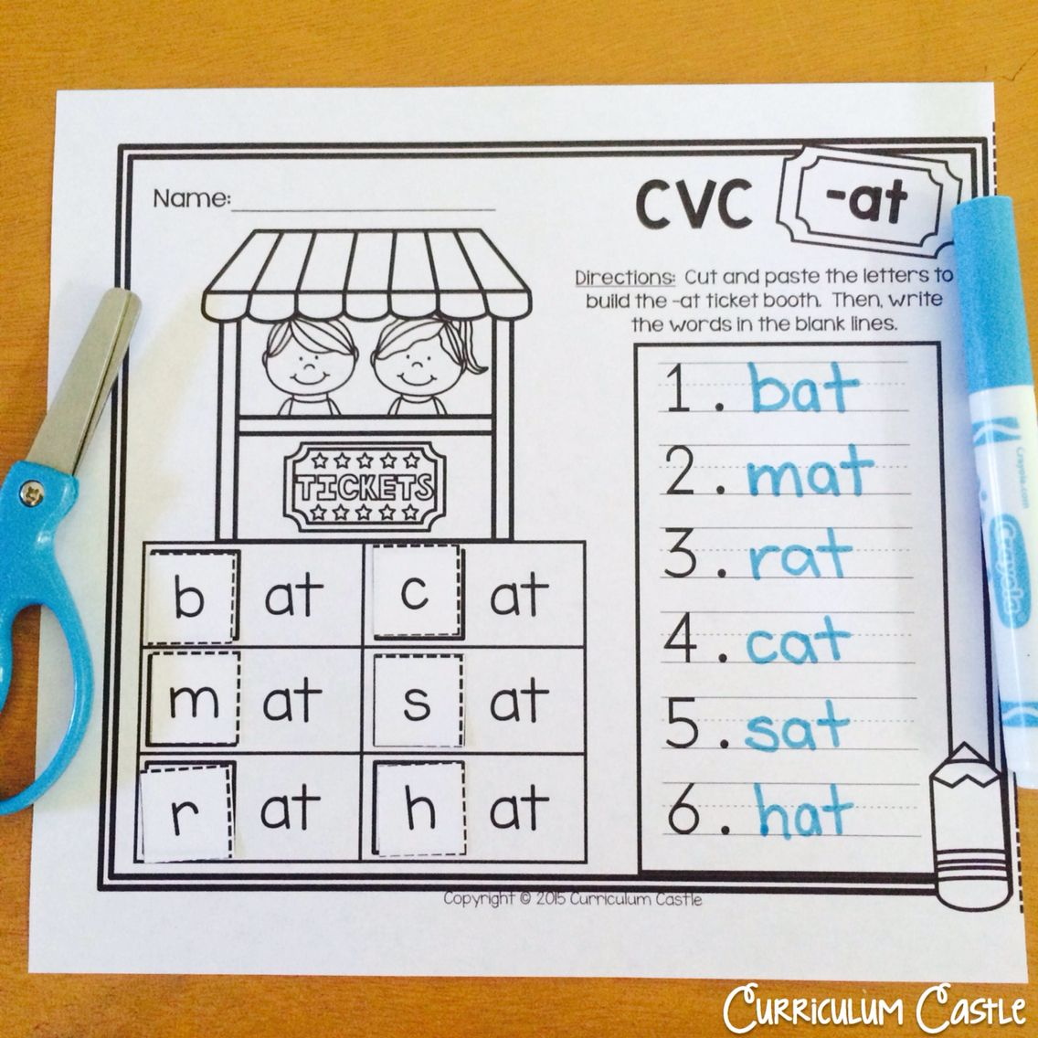 Cvc At Word Family Freebie