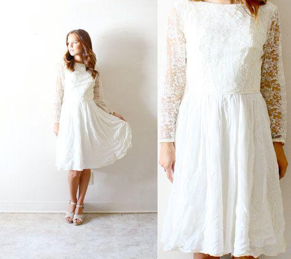 Vintage Wedding Dresses Etsy: Vintage Wedding Dress Short Length Long Sleeve Lace On