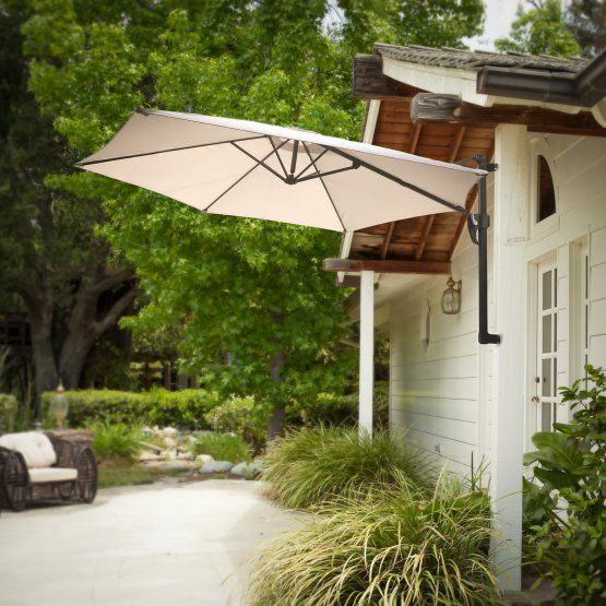 Brooke Folding Wall Mounted 10 Ft Patio Umbrella Patio Patio Umbrella Patio Umbrellas