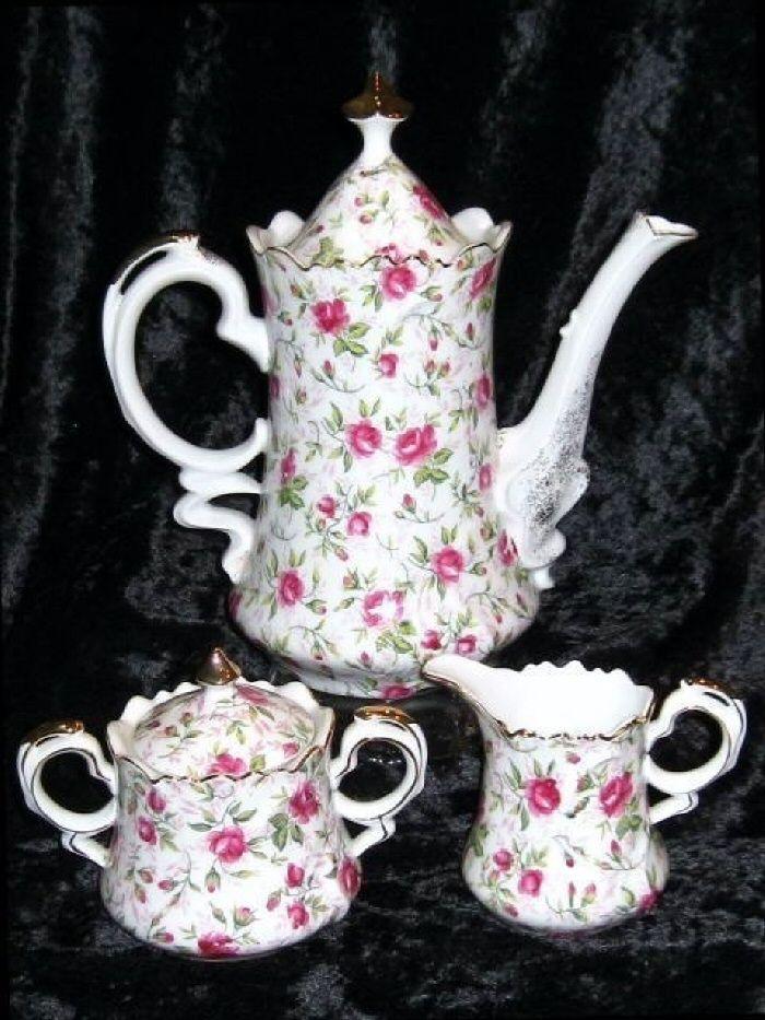 ❤ this set  . . . Lefton China~ Rose Chintz Tea Set, Teapot, Sugar, Creamer, Covered Jar~ A Fabulous grouping of Lefton China.