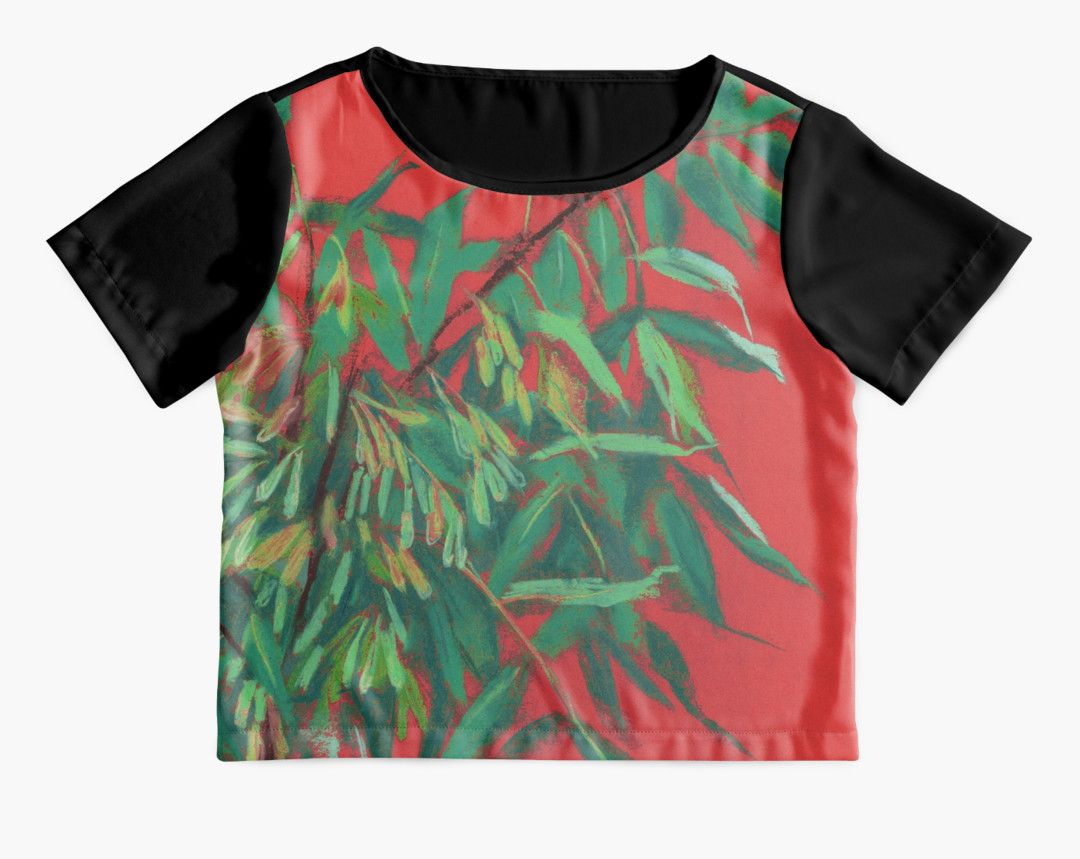 """""""Ash-tree, floral art, red & green, summer greenery"""" Chiffon Tops by clipsocallipso 