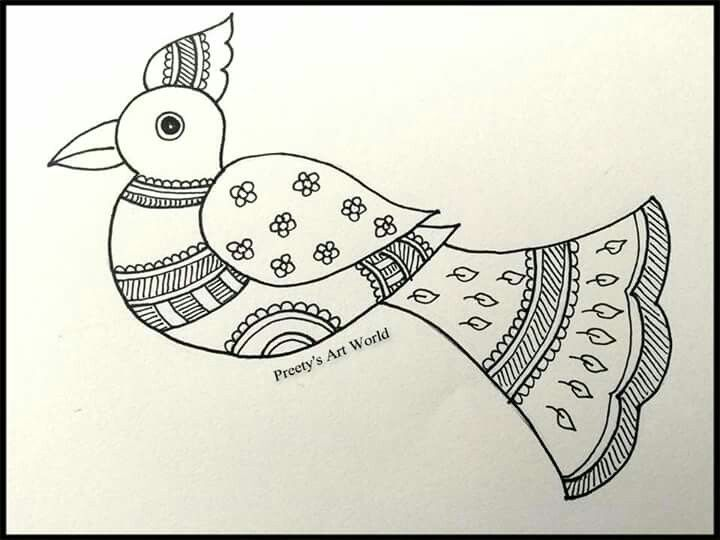 Simple Folk Art Of India Drawing