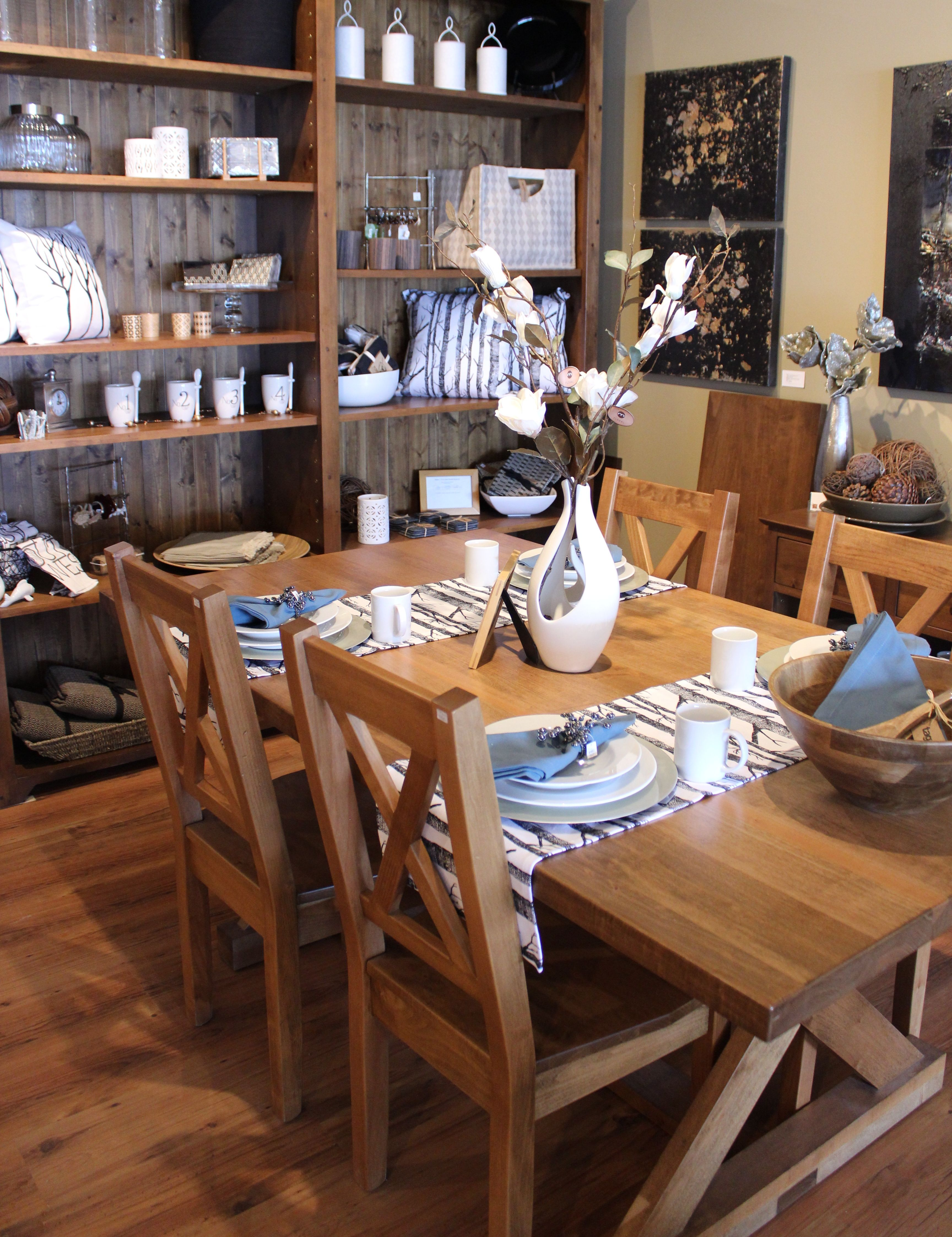 sawbuck table stained provincial modern country interiors saskatoon