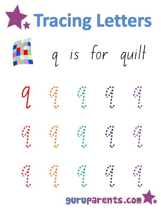 Alphabet Worksheet Handwriting Lowercase Letter Q For My