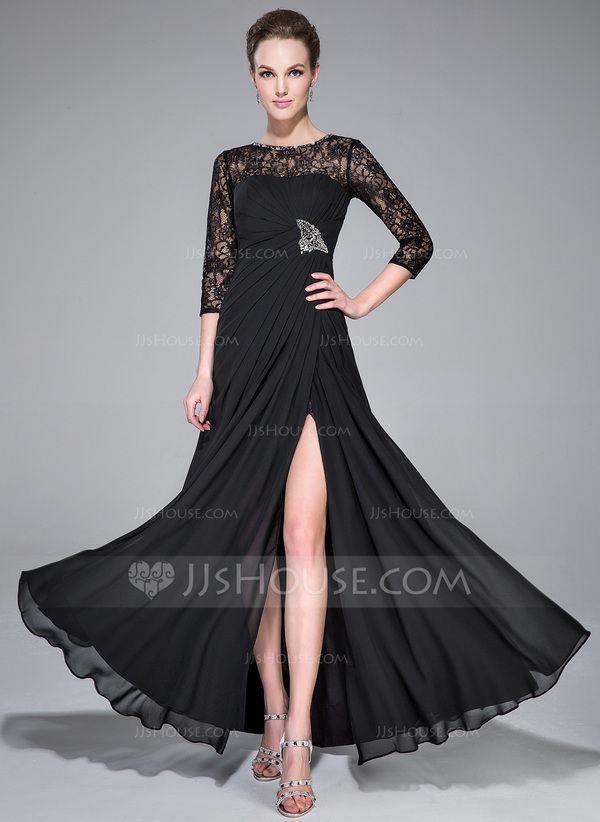 1e8b540dc80b0 A-Line/Princess Scoop Neck Floor-Length Chiffon Lace Evening Dress With  Ruffle Beading Split Front - JJsHouse