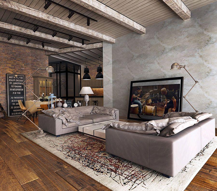 33 Idee Per Arredare Il Soggiorno In Stile Industriale Mondodesign It Decorazione Industriale Rustica Case Di Design Industriale Arredamento Moderno Rustico