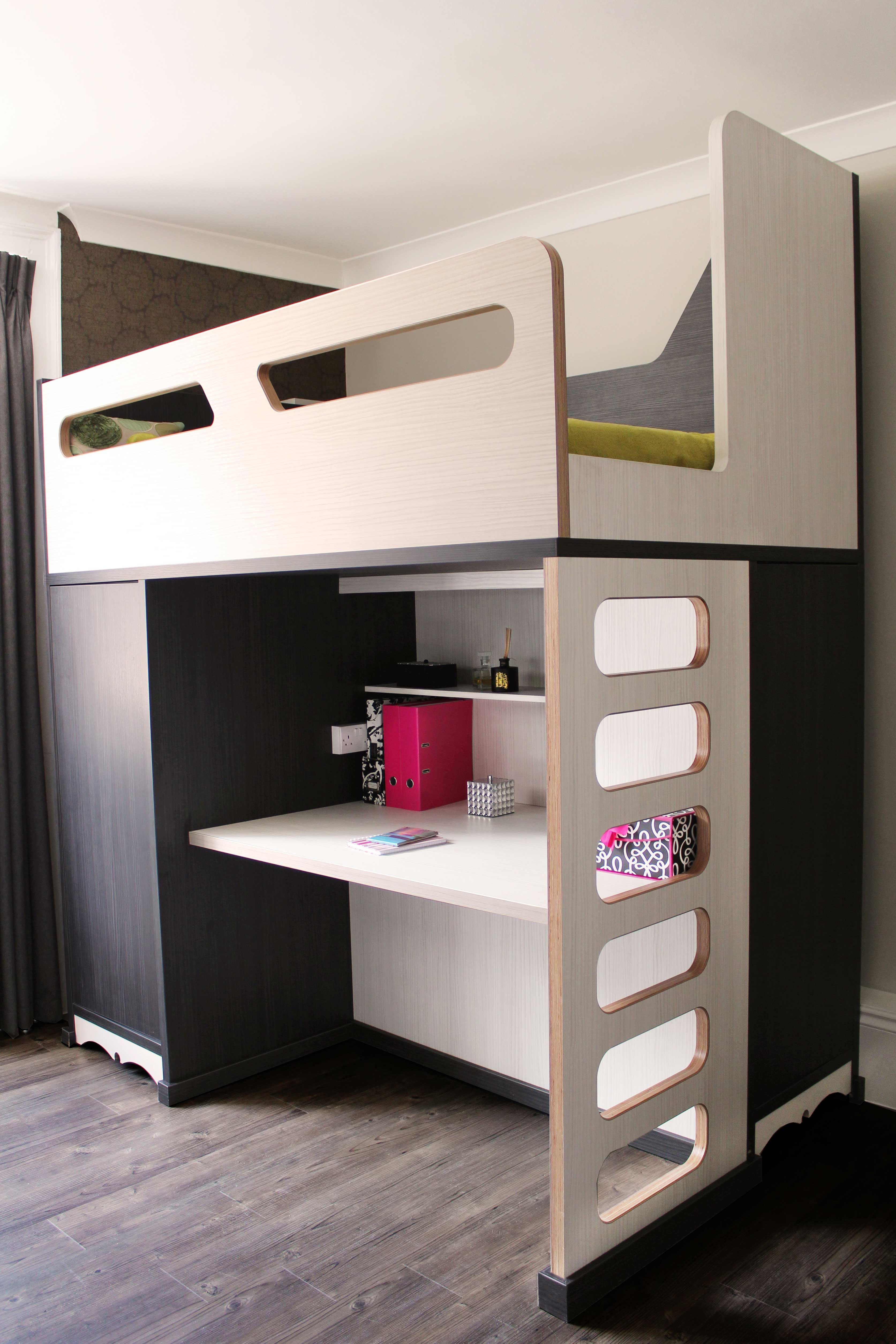 Bed Deck With Wardrobe And Desk, For Student Accommodation In Central London