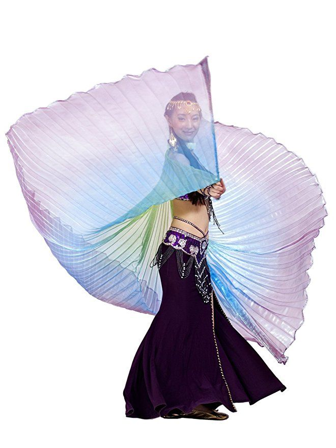 Amazon.com: Dance Fairy 2016 Rainbow Colorful Iridescent Belly Dance Isis Wings(Green,Blue,Purple Mixed No.7): Clothing