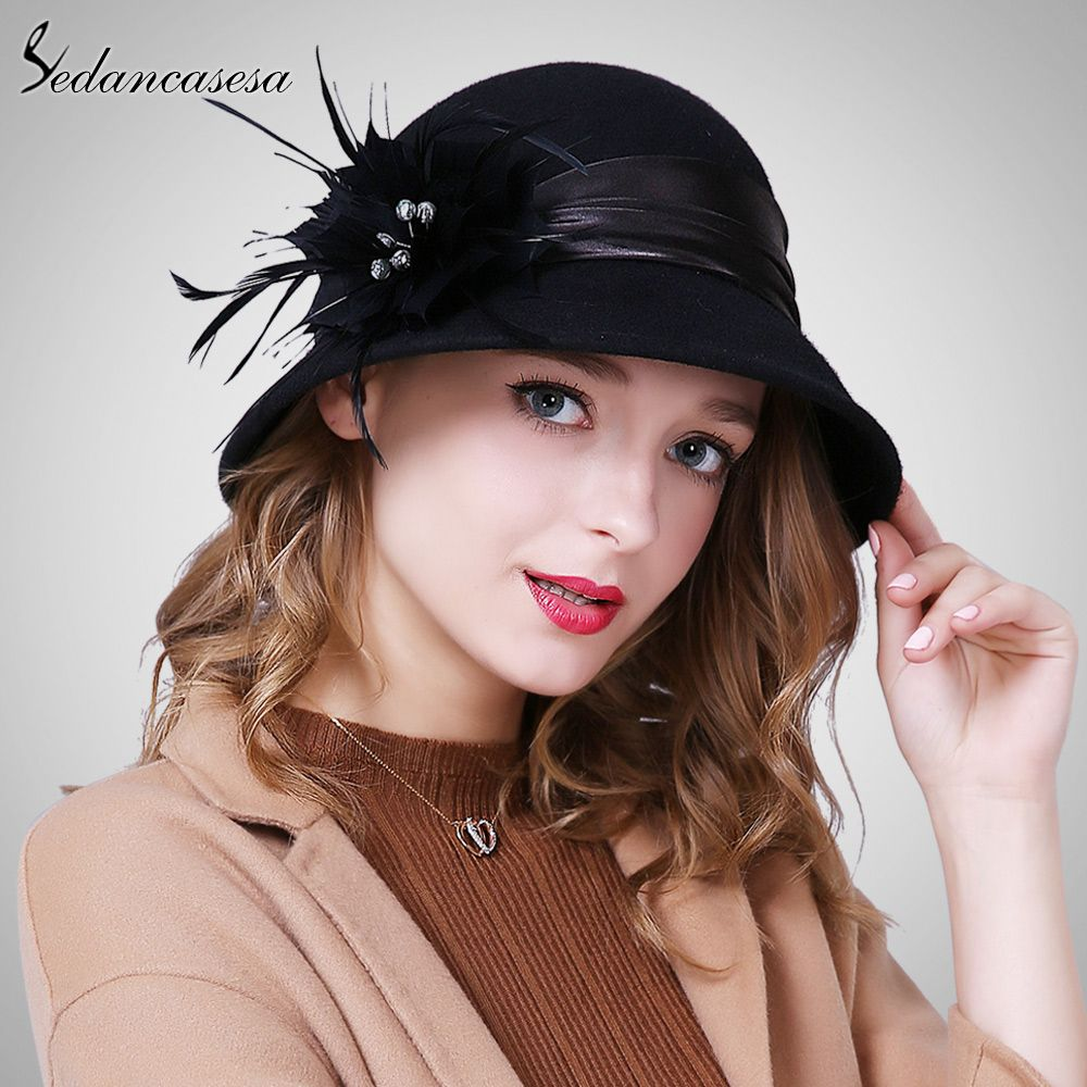 0c659680a42 Autumn Winter Female Cloche hat Handmade Feather European Wool Felt Fedora  Hats for England Bucket hat Tag a friend who would love this!