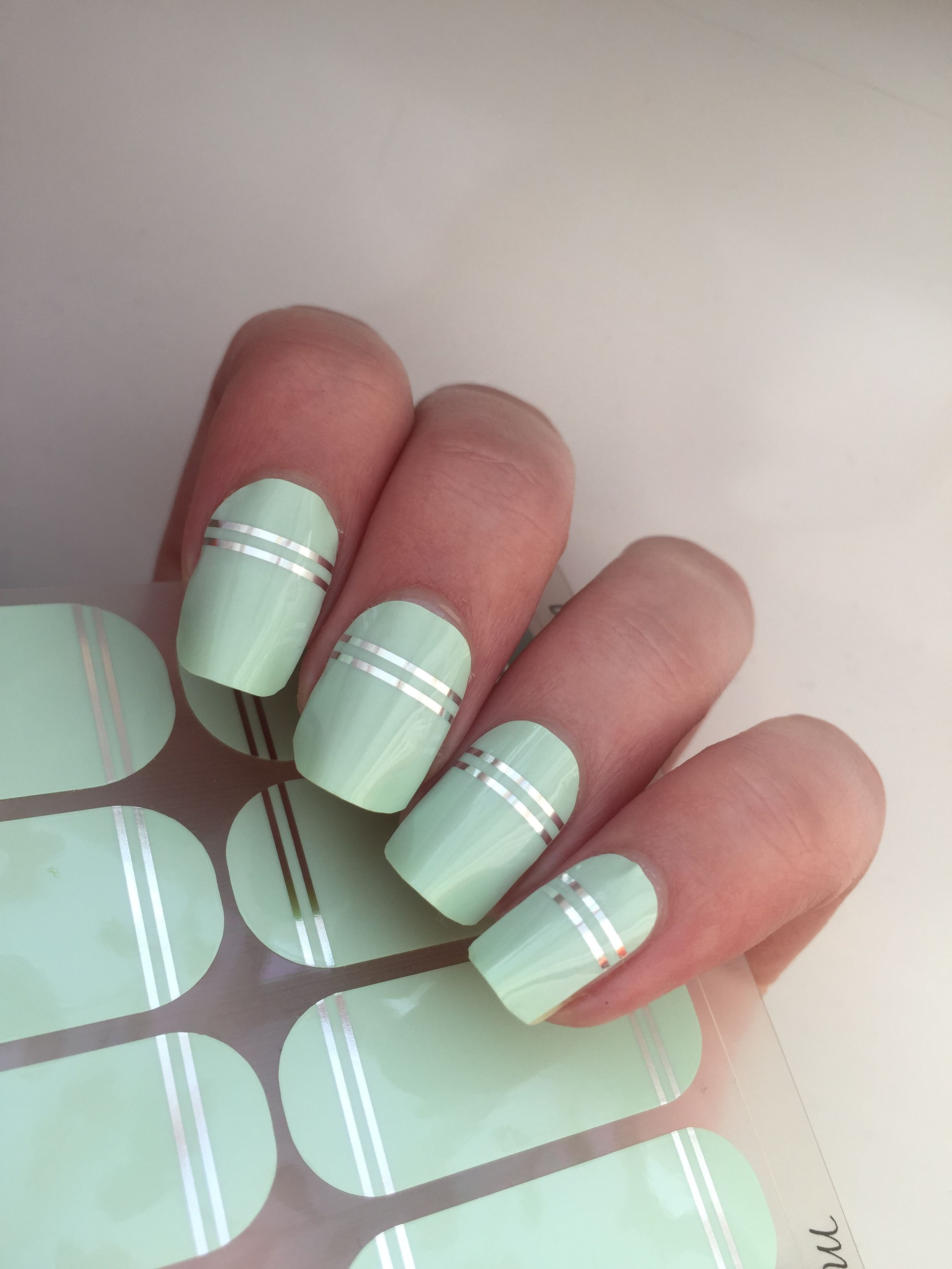 Nails Design Double Mint Nail Wraps Takes Minutes To Apply Lasts Up To 2 Weeks With Peel Off Removal In Seconds No Toxic Mint Nails Manicure Silver Nails