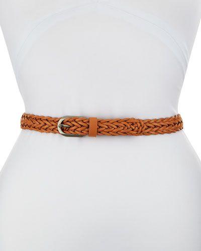 Braided Faux-Leather Belt, Vachetta