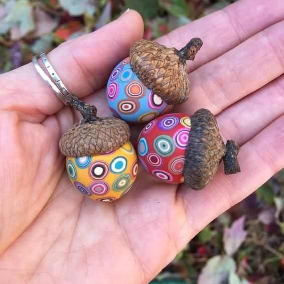 Artist Kate Way Set Of Three Polymer Clay Acorns These Acorns Are