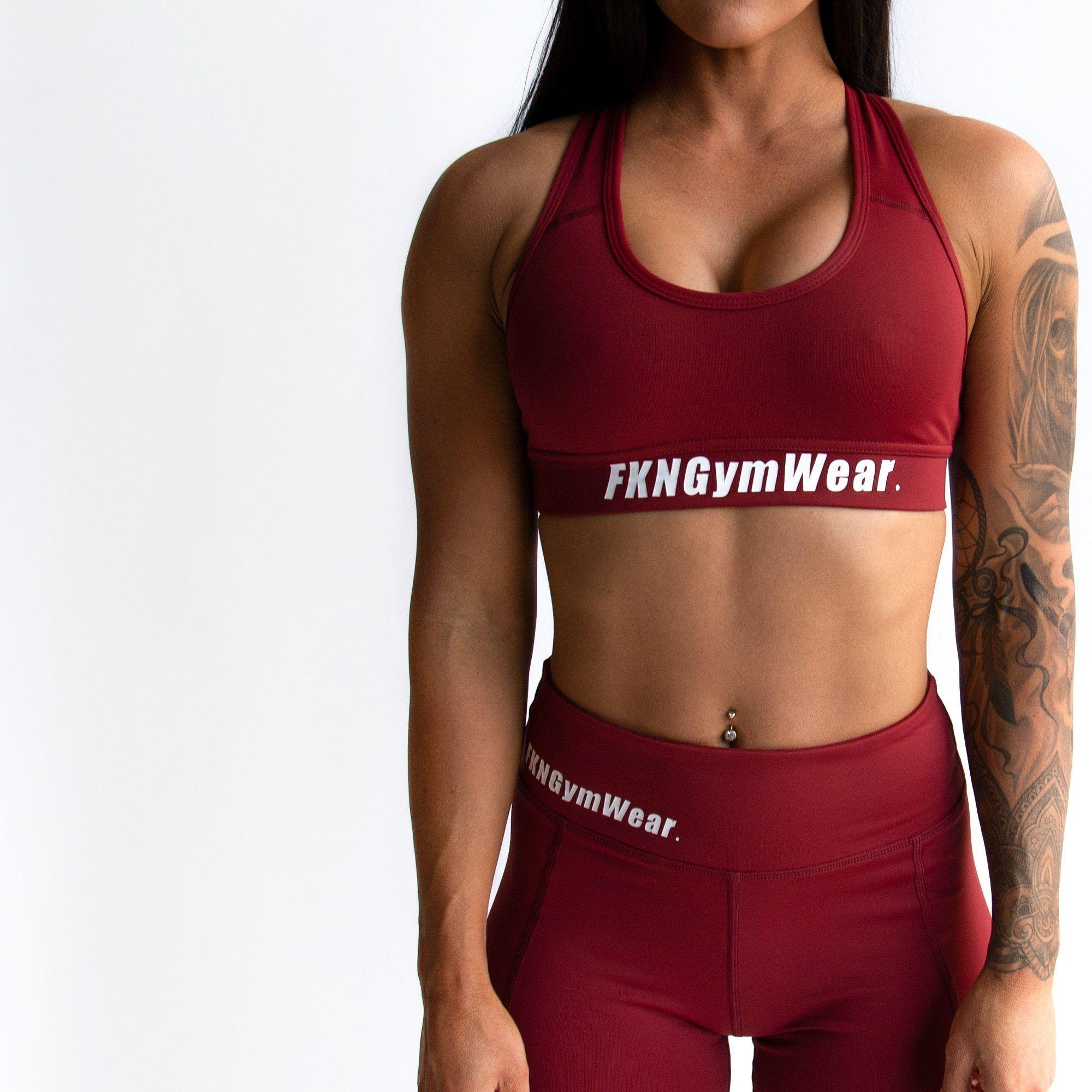 ec883458 FKN Gym Wear DTF Varsity Crop - Maroon | Sports Bras | Gym wear, Gym ...