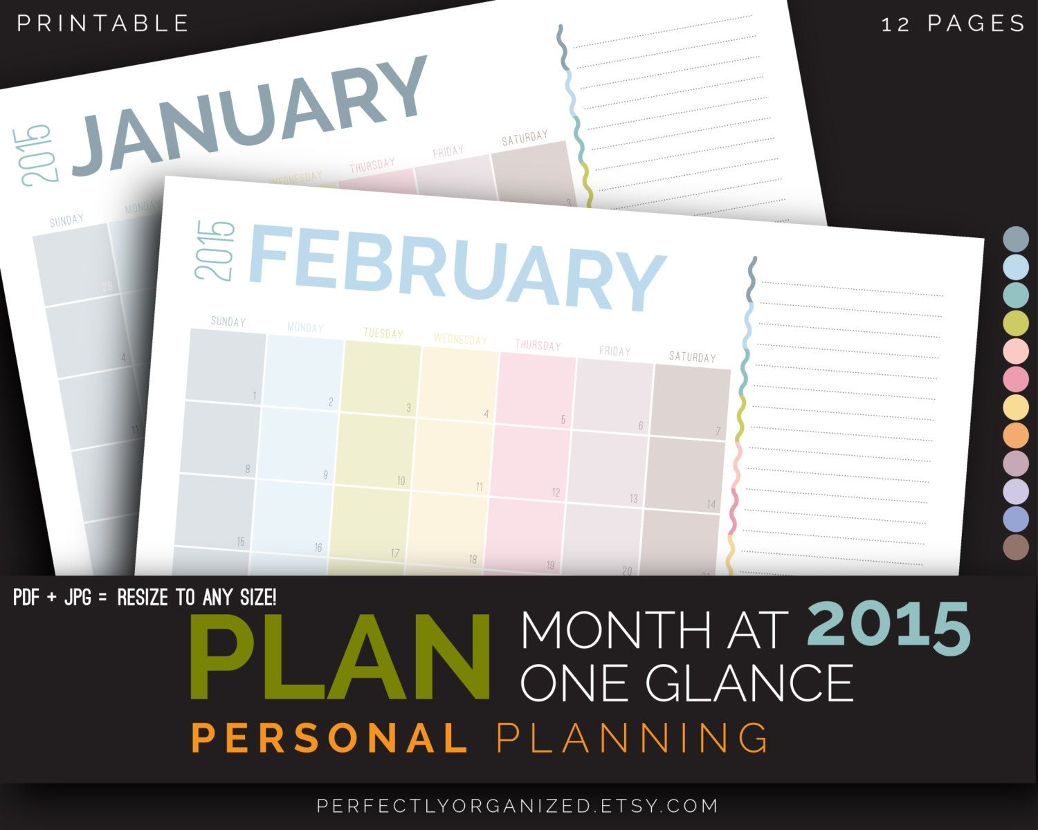 2017 calendar month at one glance planner monthly schedule calendar pastel printable planner organizer pdf printables