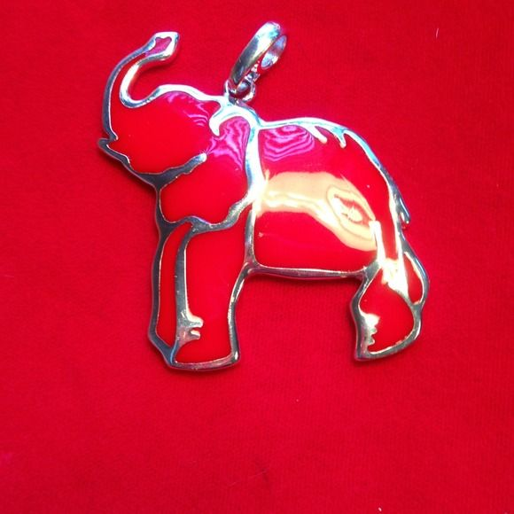"""Elephant pendant.  Red / silver. Elephant Pendant.  Red and silver. Fashion jewelry.  Approx. size 2 1/4"""" x 2 1/4"""".   Great for  Alabama game day.   Roll tide Roll Jewelry"""