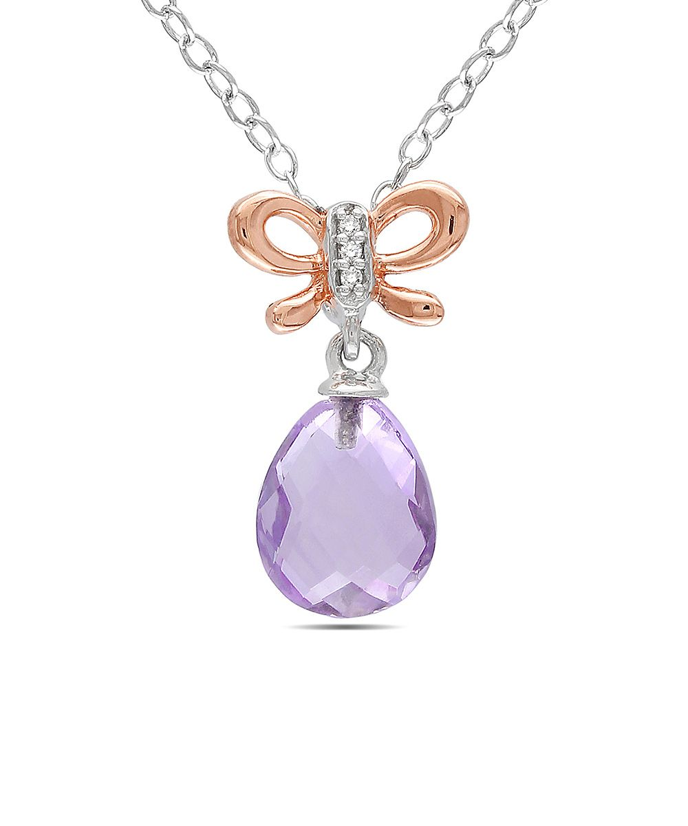 Diamond, Rose de France & Sterling Silver Bow Pendant Necklace