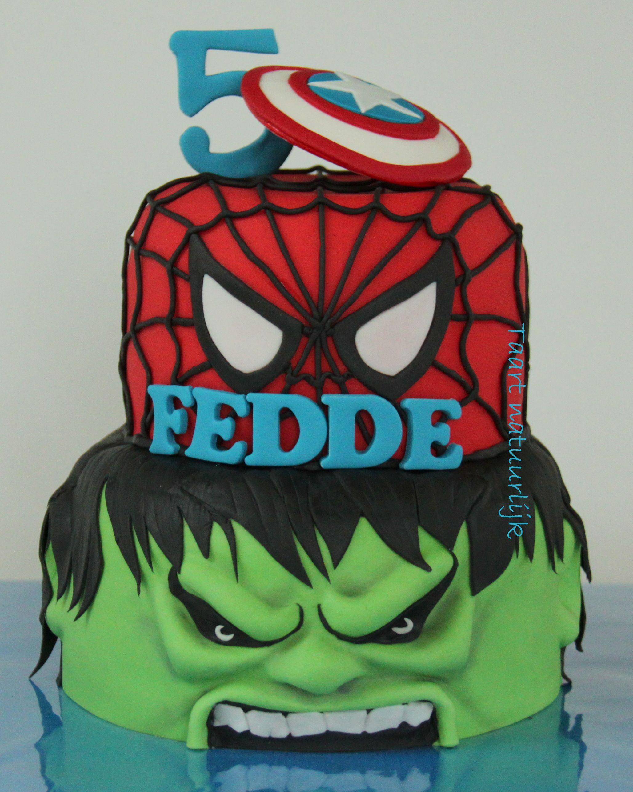 Cake Hulk Spiderman Captain America mason Pinterest Hulk