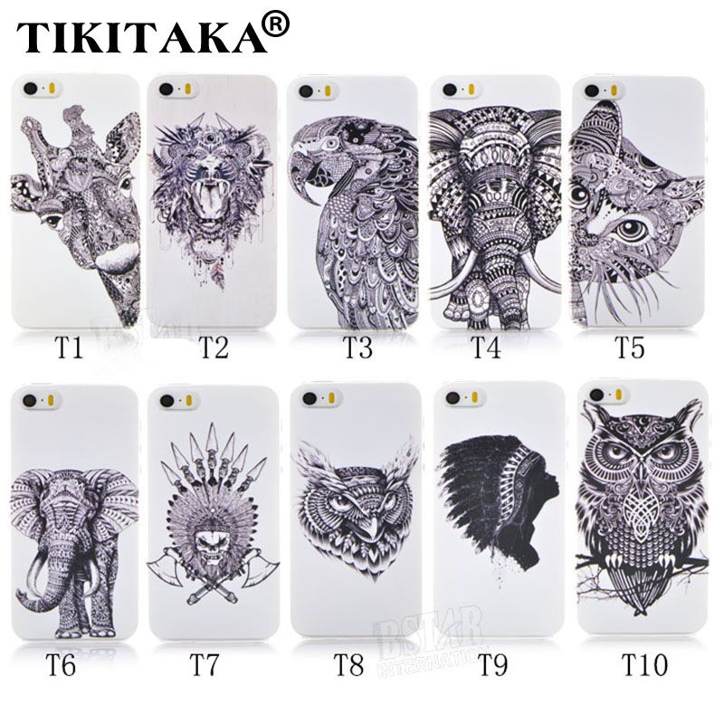 Neue Stil 3D Fällen Niedlichen Cartoon Tier welt logo giraffe Elefant EULE telefon Fall Abdeckung Für Iphone 5 5 S SE Harte PC Zurück Abdeckung