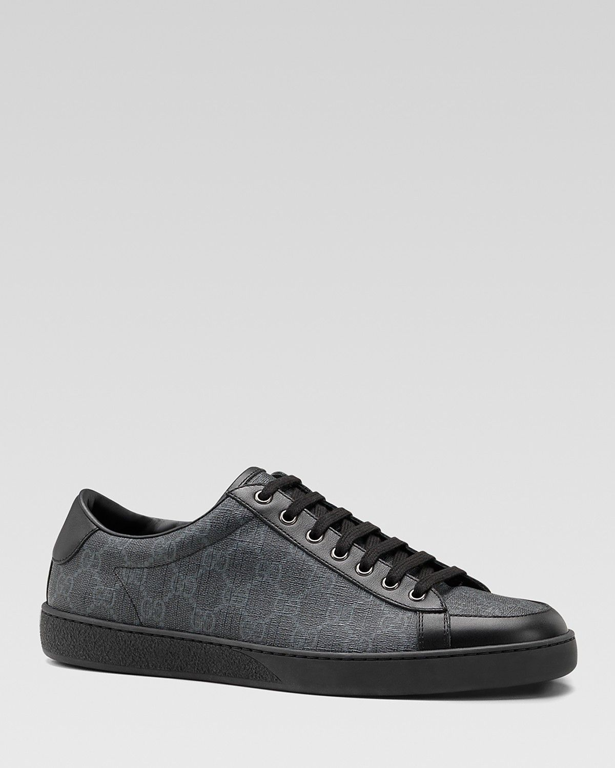 039bca784d455f Gucci Brooklyn GG Supreme Canvas Lace-Up Sneakers Gucci Men, All Black  Sneakers,