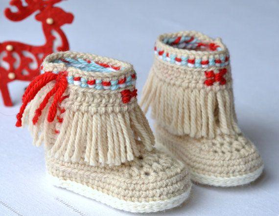 Crochet Pattern Baby Booties Fringe Moccasins 3 By Matildasmeadow