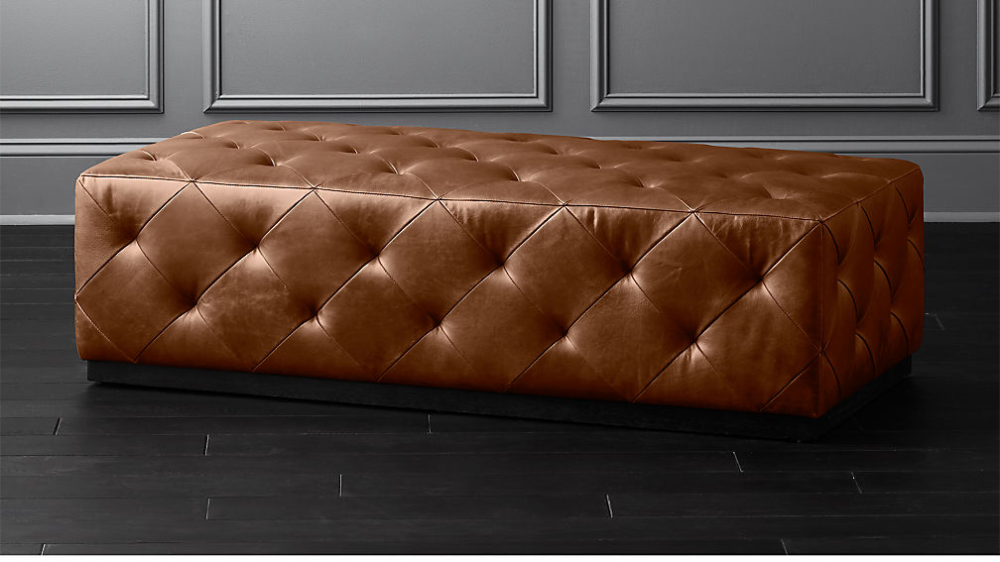 Saddle Leather Tufted Ottoman In 2020 Tufted Ottoman Red Dining