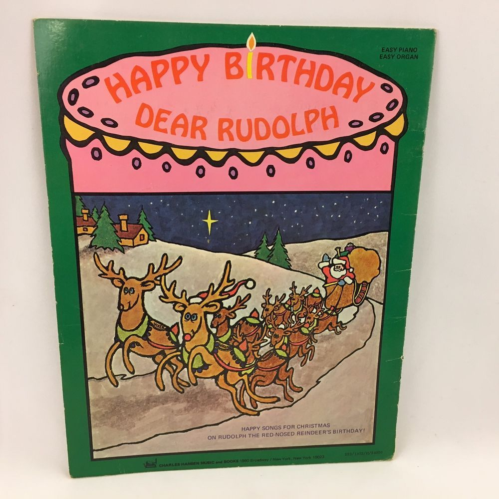 Vintage Christmas Music Happy Birthday Dear Rudolph Sheet Music Piano Organ