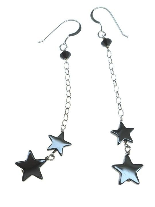 Hematite Star Hanging Earrings with A Swarovski Bead