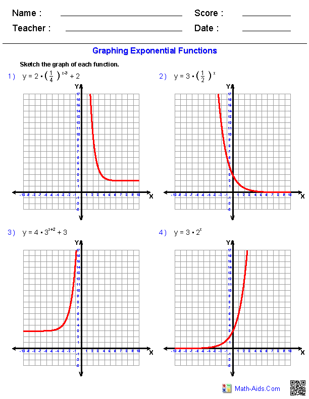 graphing exponential functions worksheets | math-aids