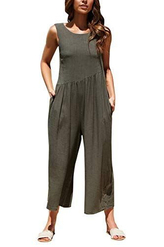 df71064fd28 Women s Backless Sleeveless Scoop Neck Flaired Wide Leg Culotte Jumpsuit  Jumpsuits For Women