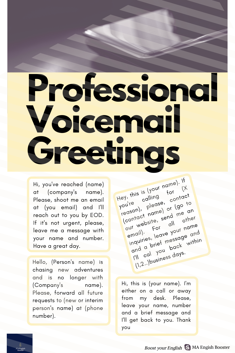 Voicemail Greetings Work Voicemail Greeting Voicemail English For Students