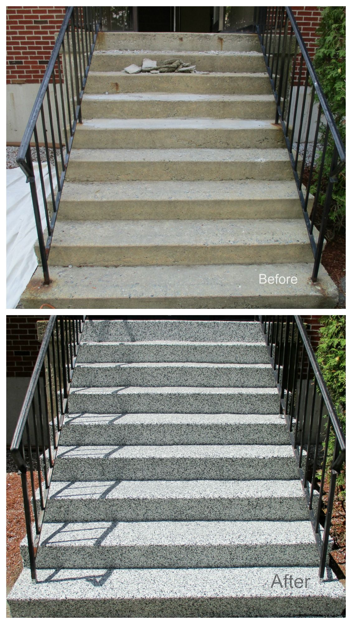 Before After Makeover Of Concrete Stairs In Manchester   Painting Outside Concrete Steps