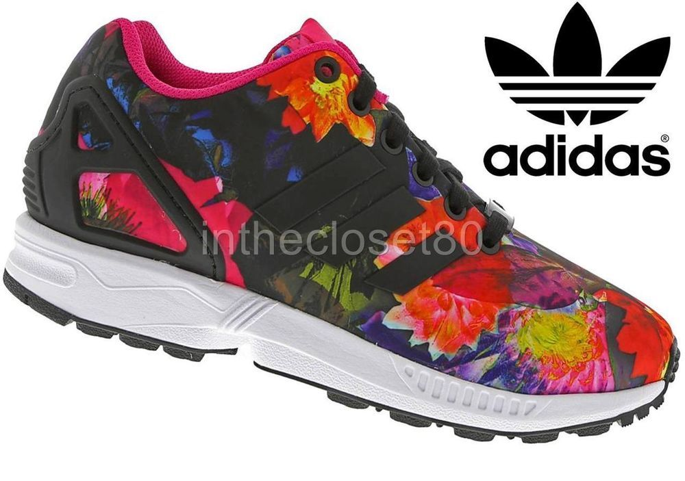 cf042a1bc0be New Adidas Zx Flux Floral Black Bold Pink Torsion Womens Trainers B25362
