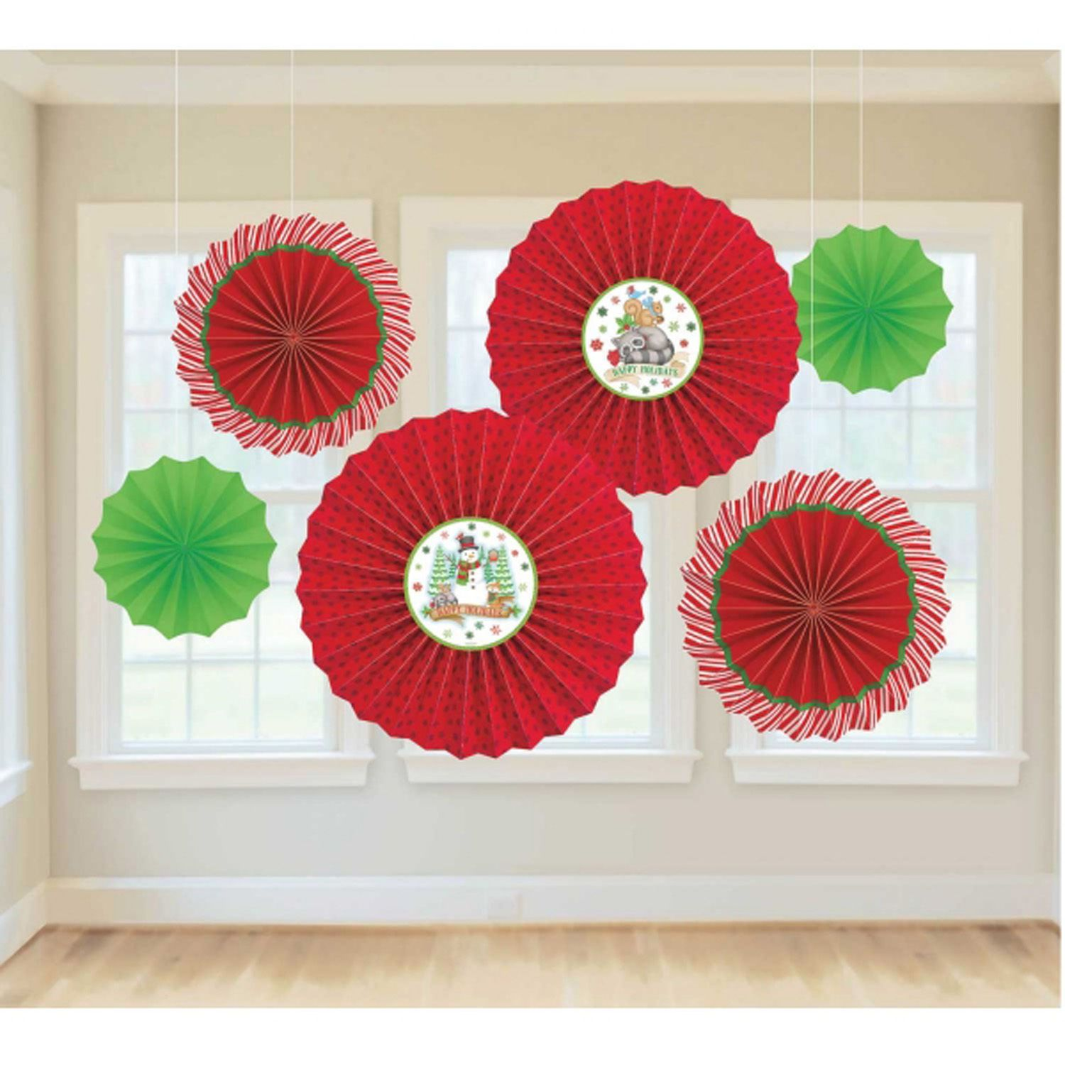 6 X Christmas Paper Fans Red & Green Hanging Party