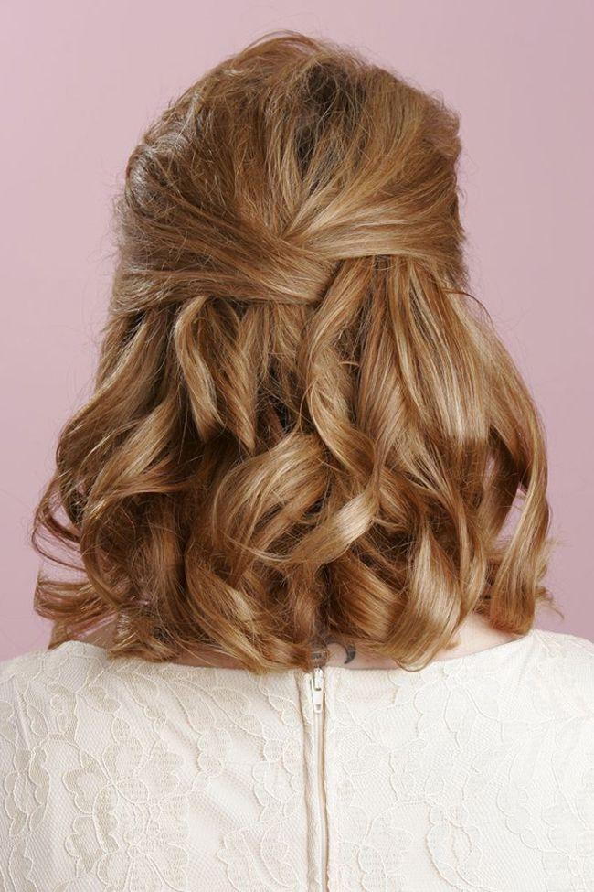 Abschlussball Frisuren Schulterlange Haare Halbhochsteck