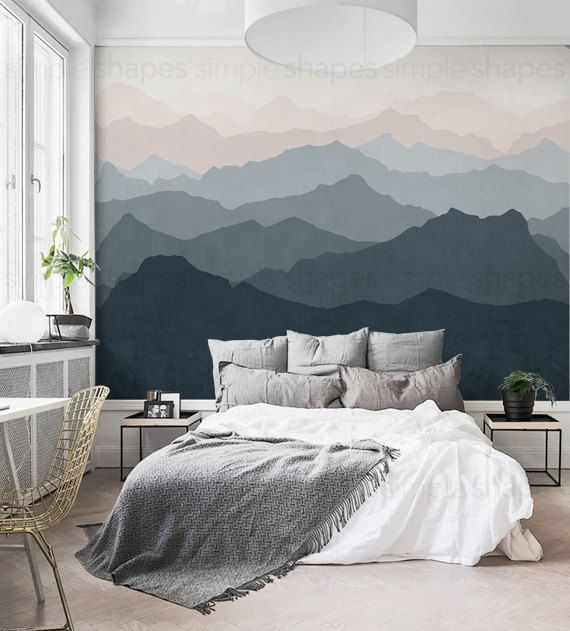Mountain Mural Wallpaper, Grayish Navy Pale Pink, Mountain Extra Large Wall Art, Peel and Stick Wall Mural -  Our picture book mountain mural wall art creates the illusion of depth and spaciousness in a small  - #angeltattoo #Art #cutetattoo #Extra #foodideas #Grayish #ideasforboyfriend #ideasposter #inspirationaltattoo #large #mountain #Mural #Navy #Pale #Peel #pink #projectideas #Stick #Wall #wallpaper #wolftattoo