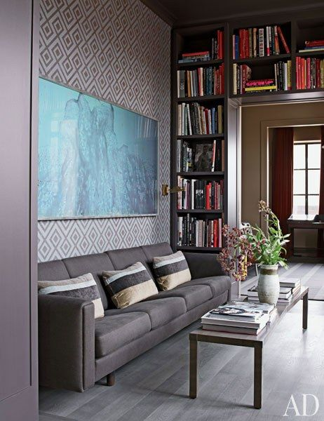Nice Living Room With Gray Couch Small Coffee Table On Legs And Abstract Wall Art