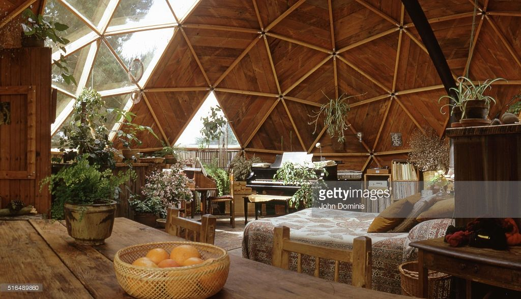 interior view of the upper level bedroom in a geodesic dome house